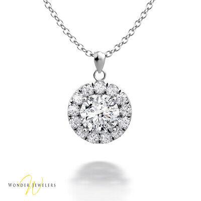 0.7ctw GIA Round Diamond Halo Necklace Pendant 14K Gold E/VS1 (6301025407)