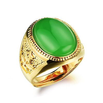 Black Red Green Leb Agate Yellow Gold GP Adjustable Jewelry Finger Band Ring