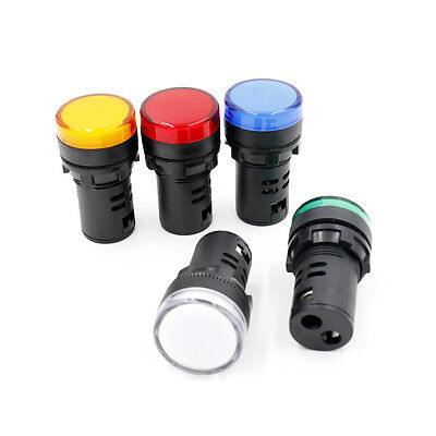 Led Signalleuchte Kontrolllampe Weiß Grün Gelb Rot Blau Acdc 24v 5 Stück