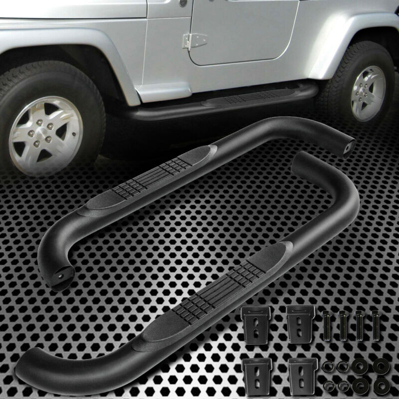 "Heavy Duty Black 3/"" Nerf Bar Running Board Side Step Bar For 87-06 Jeep Wrangler"
