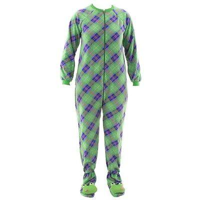 Katnap Green Plaid Fleece Frog Footed Pajamas for Women Fleece One-Piece Footie - Frog Footed Pajamas