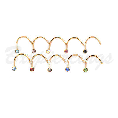10pc 20G Screws Nose Ring Twist Gold Plated Nostril Piercings Stud Micro Gem