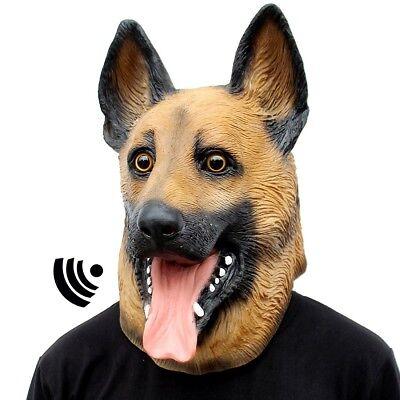 Dog Head Mask Halloween Party Latex Animal German Shepherd Adult Childs