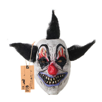 Scary Black Hair Clown Mask Halloween Party Costume Decor Creepy Latex Mask  - Scary Halloween Party Decor
