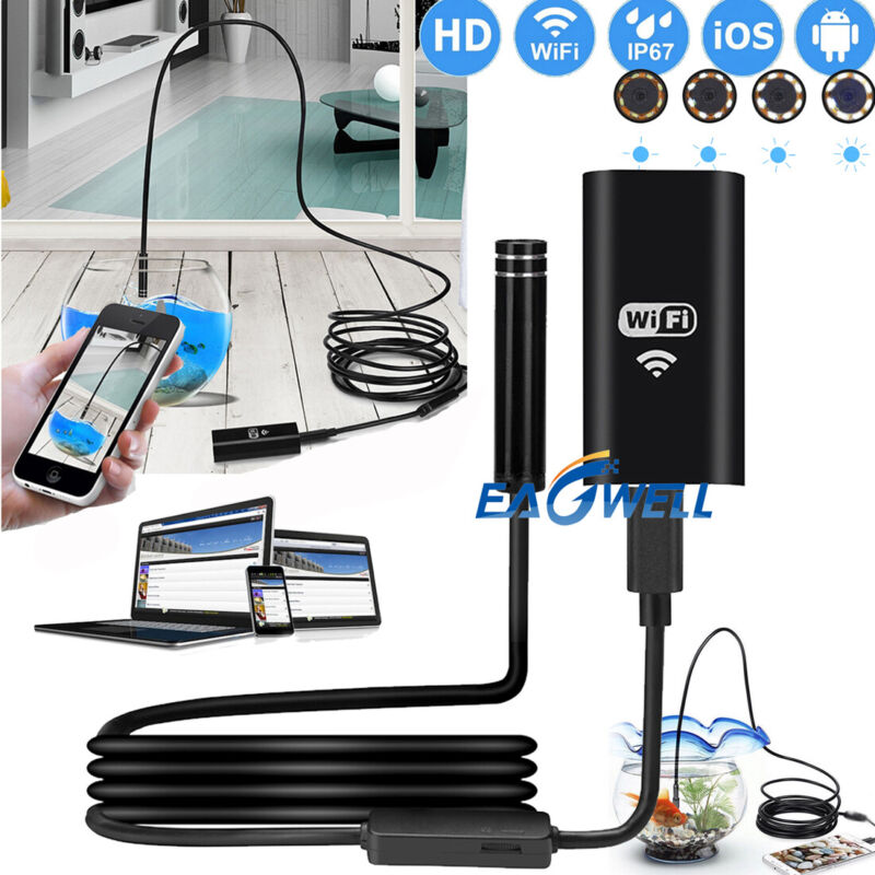 US For Samsung S9 S8 S7 8LED Wireless Endoscope WiFi Borescope Inspection Camera