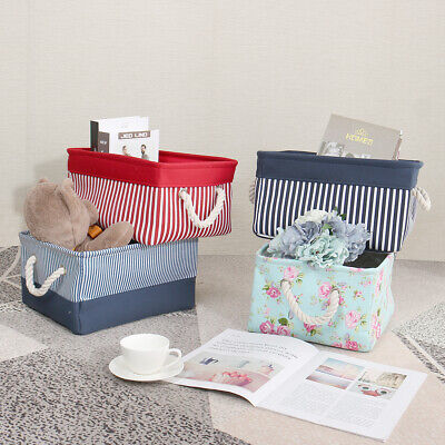 Canvas Fabric Storage Baskets Bins Collapsible Toy Boxes Organizer for Shelves  ()