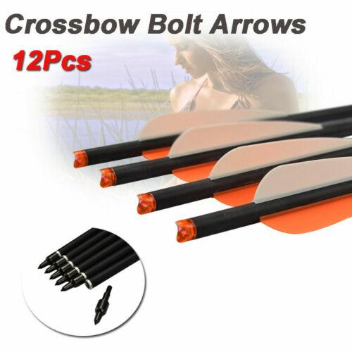 "12 20"" Crossbow Bolts Carbon Archery Arrow w/ Replaceable Arrow Tips & 4"" Vanes"