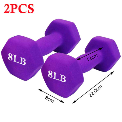 2PCS 8lb Dumbbells Neoprene Coated Iron Dumbbells Hand Weights Exercise Fitness
