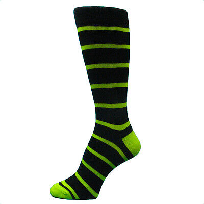 Black Man Dressed For Halloween (Black With  lime green Striped mens dress Socks for wedding & Halloween--MA035)