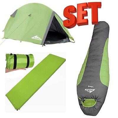 2 Personen  Zelt mit 2000 mm Wassersäule & Selfinflating/Iso Matte & Schlafsack