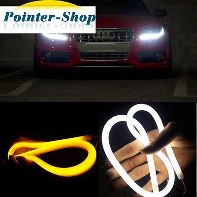 2x 12V 60cm Dual Color White Amber LED Tube Strip Headlight DRL Daytime Lights