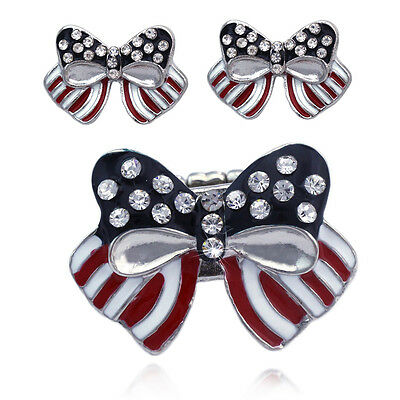 4th of July USA American Flag Bow Ribbon Earrings Stretch Band Cocktail Ring Set