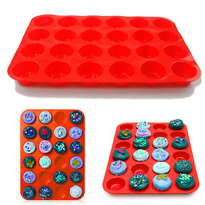 NEW 24 Cavity Mini Muffin Cup Silicone Cookies Cupcake Bakeware Pan Tray Moul UK