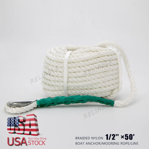 US STOCK 3//8/'/' ×100/' White Twisted 3 Strand  Boat Anchor//Mooring Rope//Line