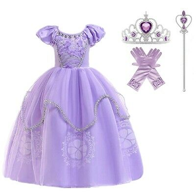 Princess Sofia Costume (Princess Sofia Costume Kids Toddler Halloween Party Fancy Dress Outfit 4Pcs)