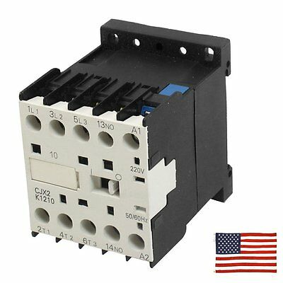 Us Cjx2-k1210 220 Volts Coil 35mm Din Rail 12a Three Pole 3p 1no Ac Contactor