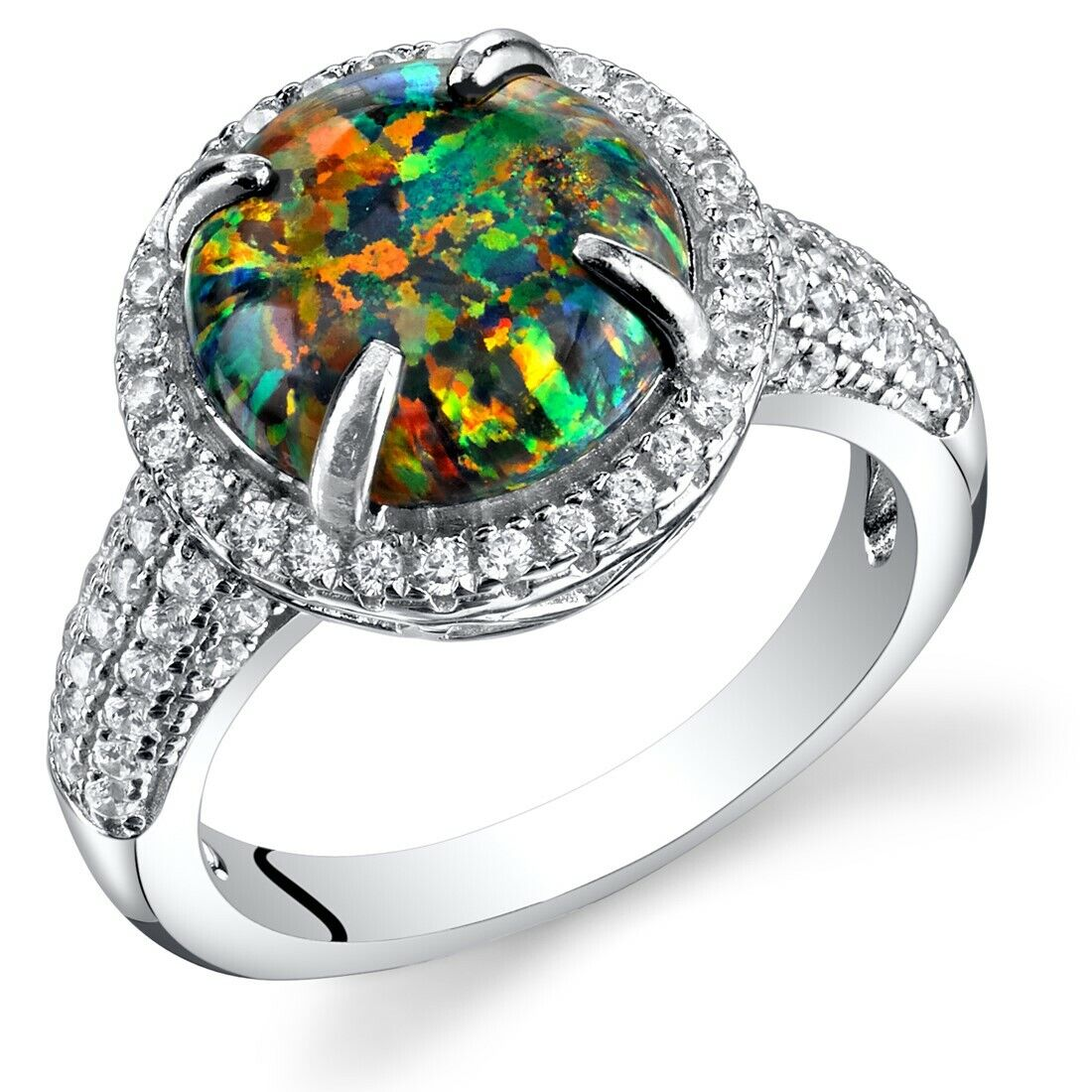 1.50 cts Round Cut Peridot  Ring Sterling Silver Size 5 to 9