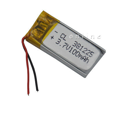 Polymer Li ion Lipo Battery 3.7V 100 mAh 381225 for GPS pen headset record pen