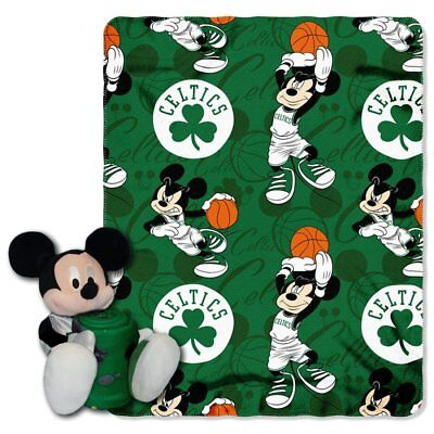 Boston Celtics NBA Mickey Mouse Throw and Hugger Pillow Set