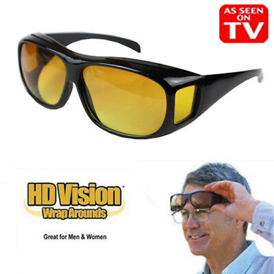 Unisex HD Wrap Around Night Vision Driving Aviator Glasses Eyewear As Seen On (As Seen On Tv Aviator Sunglasses)