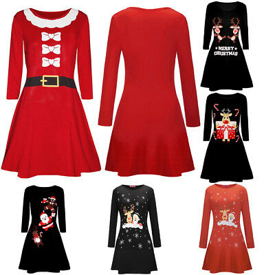 Women Christmas Santa Printed Dress Ladies Long Sleeve Mini Dress Swing Dress - Santa Dress Women
