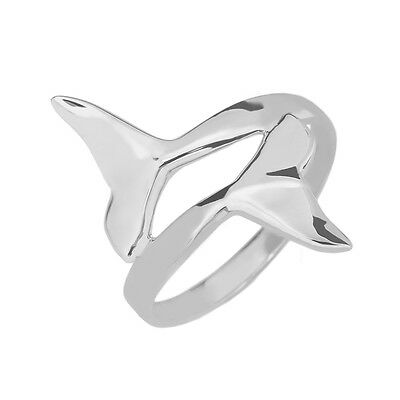 (Fine 14k White Gold Dolphin Tail Double Wrap Ring)