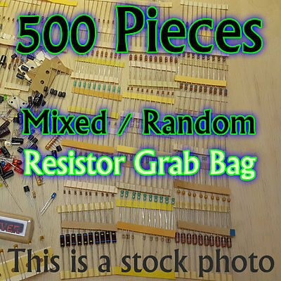 500 Pcs - Resistors - Electrical Component Grab Bag Assortment Diy Or Arduino
