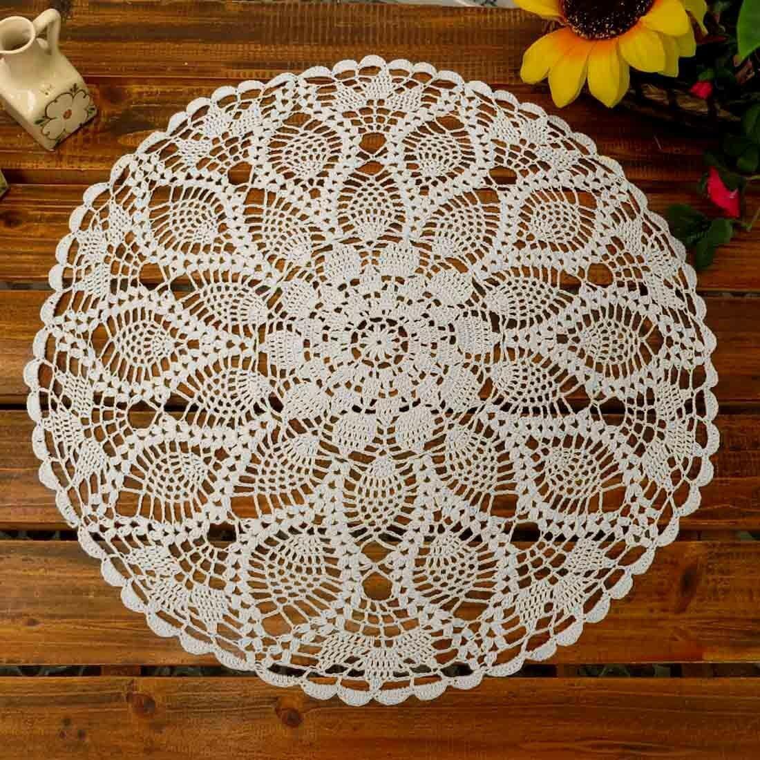 Table Placemats Crochet Doilies Lace Round Cotton Doily For