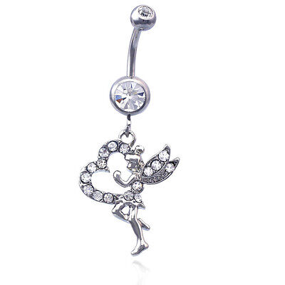 Clear Crystal Fairy Heart Charm Dangle Belly Navel Ring Body Piercing Jewelry Fairy Belly Ring Body Jewelry