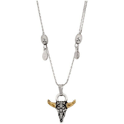 Alex And Ani Spirited Skull Pendant Two Tone 32 inches Necklace A17ENSPSRS