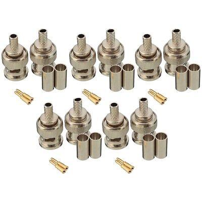 10 Sets 3-Piece BNC Male RG58 Plug Crimp Connectors M3F9 Bnc Rg58 Connector 3 Pieces