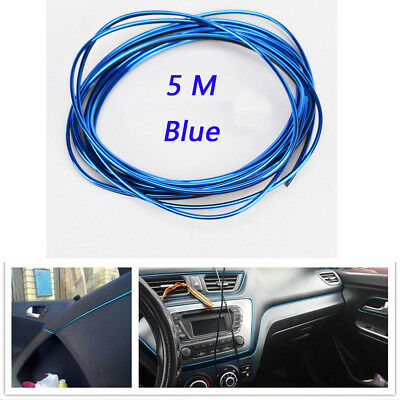 5M Blue Car Interior Accessory Point Molding Edge Gap Line Garnish Universal