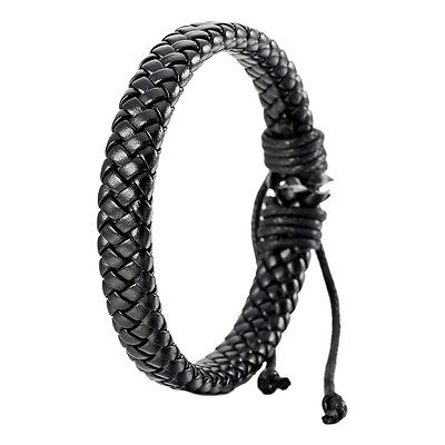 Leather Bracelet Bangle Cuff Rope Black Surfer Wrap Adjustable Men,Women T1