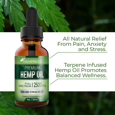 Hempress    2500Mg Hemp Oil   Full Spectrum   Reduce Anxiety  Pain And Stress