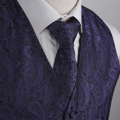 XL Black/Purple Paisley Microfiber Vest and Tie Prom/Wedding By Epoint