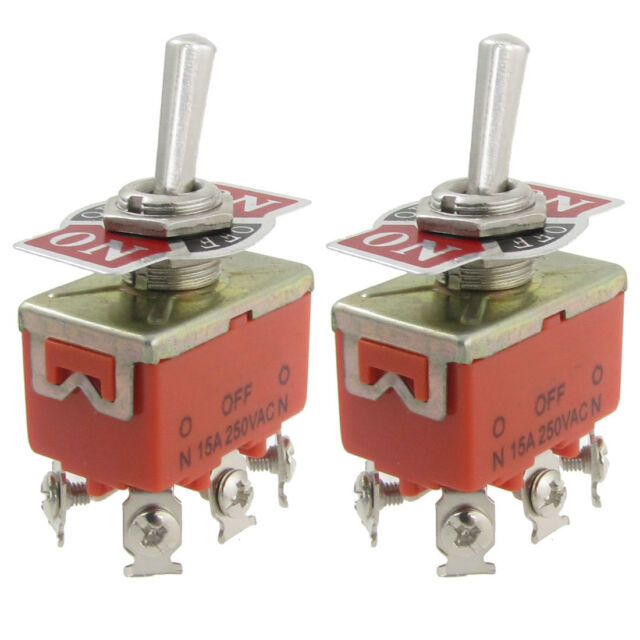2 Pcs Metal Resin AC 250V 15A Amps ON/OFF/ON 3 Position DPDT Toggle Switch WD