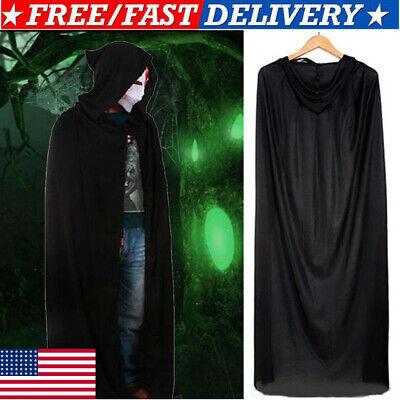 Black Hooded Cape Costume (Hooded Cape Adult Unisex Long Cloak Black Halloween Cosplay Costume Dress)