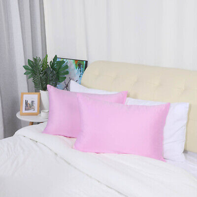 2 Pcs Zippered Silky Satin Pillowcases Pink King Size Pillow