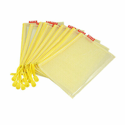 Soft Plastic A5 Document Zipper Pen File Memo Holder Pockets Bags Yellow 10 Pcs