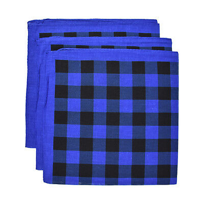 3  Black & Blue Checkerboard Bandanas Cotton Head Scarf Handkerchief Wrist Band  - Checkerboard Bandana