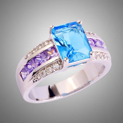 Amethyst & Blue & White Topaz Gemstone Wedding Ring Size 10 For Lady Best