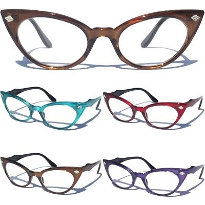 Cat Eye Clear Lens Color Frame Glasses Womens Retro 60s Vintage Cute Design (Cute Womens Glasses)