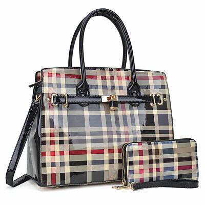 - Trendy Women Medium Handbag Patent Leather Satchel Shoulder Bag + Purse Wallet