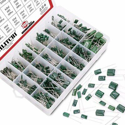 Hilitchi 0.22nf 700pcs 24-value Mylar Polyester Film Capacitor Assortment Kit