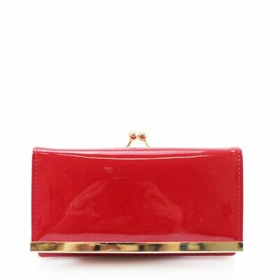 Women Stylish Patent 2008 Flap Over Purse Long Wallet Coin Pouch Card Holder