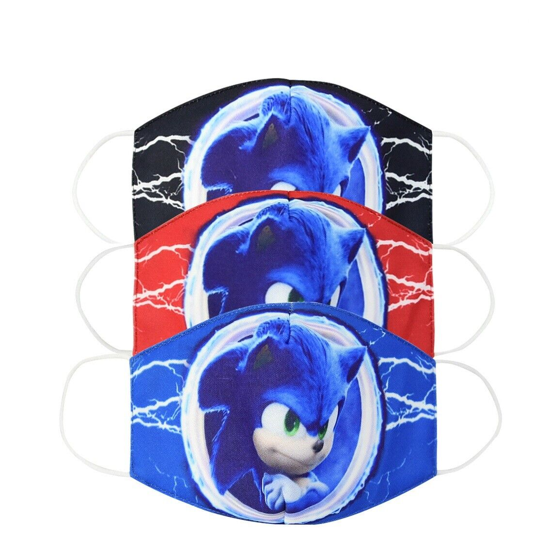 3 pcs Super Sonic Hedgehog Cartoon Cotton Masks Half Face Mouth Cover Kids/Adult Accessories