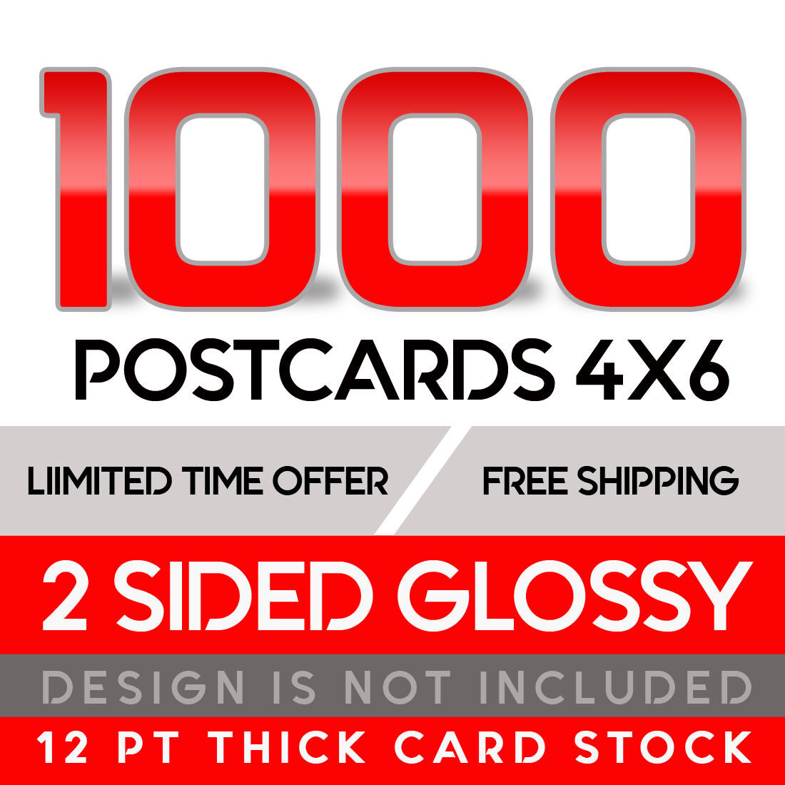 1000 Custom Full Color 4x6 16PT Postcards W/UV Glossy  - $39.00