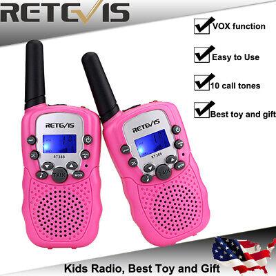 Pink Kids Retevis RT-388 Walkie Talkie UHF 462.5625-467.7250MHz 22CH Radio
