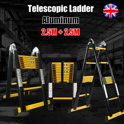 5M Heavy Duty Multi-Purpose Aluminum Telescopic Steps Ladder 2.5+2.5M Black UK