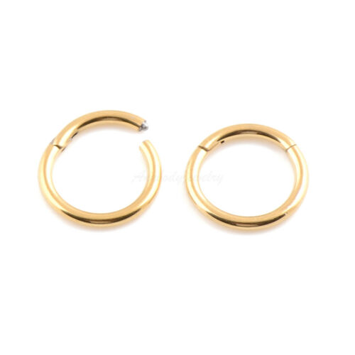 20g 18g 16g 14g Gold Color Hinged Segment Nose Ring Septum Clicker Daith Hoop